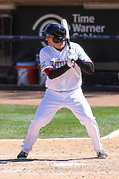 Wisconsin Timber Rattlers third baseman Dustin DeMuth (12) at bat during a game against the Cedar Rapids Kernels on April 23rd, 2015 at Fox Cities Stadium in Appleton, Wisconsin.  Cedar Rapids defeated Wisconsin 3-0.  (Brad Krause/Four Seam Images)