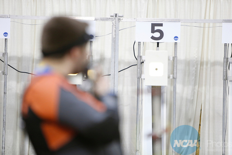 COLUMBUS, OH - MARCH 11: A student athlete looks towards their target during the Division I Rifle Championships held at The French Field House on the Ohio State University campus on March 11, 2017 in Columbus, Ohio. (Photo by Jay LaPrete/NCAA Photos via Getty Images)