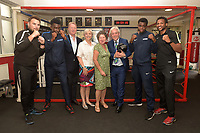 John Bercow MP, Frank Warren teachers and students pose for a photo during a Press Call at The Boxing Academy on 21st June 2018