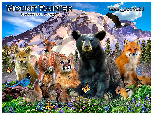 Howard, REALISTIC ANIMALS, REALISTISCHE TIERE, ANIMALES REALISTICOS, paintings+++++Mount Rainier poster,GBHRPROV124,#A#