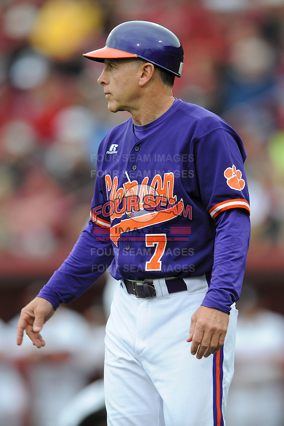 Head Coach Jack Leggett #7 of the Clemson Tigers directs his team during a game against the South Carolina Gamecocks at Carolina Stadium on March 3, 2012 in Columbia, South Carolina. The Gamecocks defeated the Tigers 9-6. Tony Farlow/Four Seam Images.