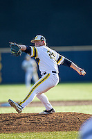 Michigan Wolverines pitcher Mac Lozer (29) delivers a pitch to the plate against the Central Michigan Chippewas on March 29, 2016 at Ray Fisher Stadium in Ann Arbor, Michigan. Michigan defeated Central Michigan 9-7. (Andrew Woolley/Four Seam Images)