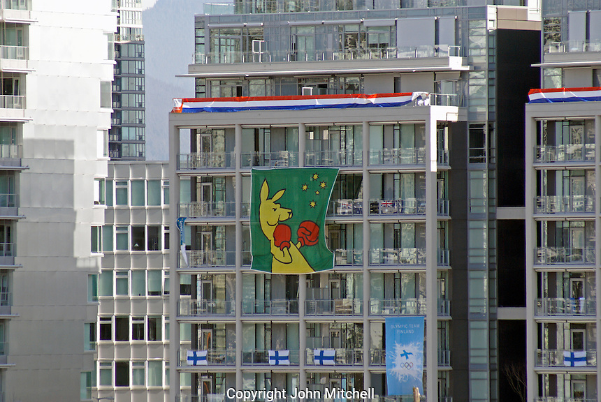 Austrailian boxing kangaroo banner at the Olympic Village, 2010 Winter Games, Vancouver, British Columbia, Canada