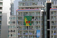 Austrailian boxing kangaroo banner at the Olympic Village, 2010 Winter Games, Vancouver, British Columbia, Canada