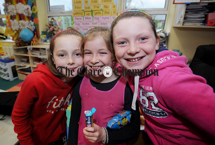 Rachel Tarrant, Orla Begly and Saidhbh O' Brien enjoying the official opening of the new extension at Knockanean National School. Photograph by Declan Monaghan