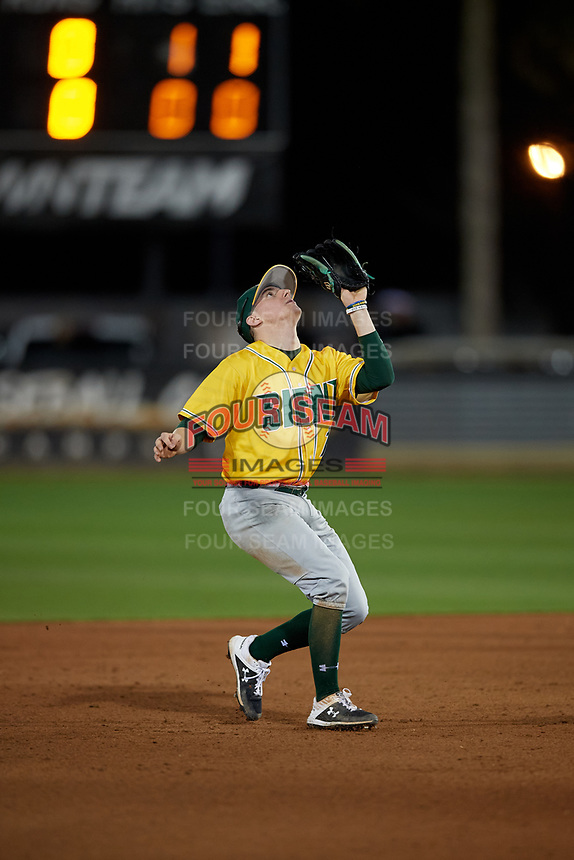 Siena Saints shortstop Devan Kruzinski (12) catches a popup during a game against the UCF Knights on February 14, 2020 at John Euliano Park in Orlando, Florida.  UCF defeated Siena 2-1.  (Mike Janes/Four Seam Images)