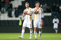Baily Cargill and Dean Lewington of MK Dons applaud the fans after MK Dons vs Macclesfield Town, Sky Bet EFL League 2 Football at stadium:mk on 17th November 2018