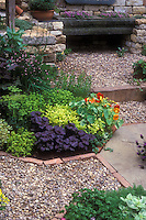 Herb garden with stone wall, quote sign, Spanish lavender, Alaska nasturtiums, containers and crevice plants, mixture of types with pebble stones