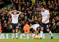 Bolton Wanderers' Joe Williams cuts a frustrated figure after a late Norwich winner<br /> <br /> Photographer David Shipman/CameraSport<br /> <br /> The EFL Sky Bet Championship - Norwich City v Bolton Wanderers - Saturday 8th December 2018 - Carrow Road - Norwich<br /> <br /> World Copyright &copy; 2018 CameraSport. All rights reserved. 43 Linden Ave. Countesthorpe. Leicester. England. LE8 5PG - Tel: +44 (0) 116 277 4147 - admin@camerasport.com - www.camerasport.com