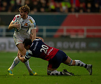 Exeter Chiefs' Gareth Steenson is tackled by Bristol Bears' George Smith<br /> <br /> Photographer Bob Bradford/CameraSport<br /> <br /> Gallagher Premiership Round 7 - Bristol Bears v Exeter Chiefs - Sunday 18th November 2018 - Ashton Gate - Bristol<br /> <br /> World Copyright &copy; 2018 CameraSport. All rights reserved. 43 Linden Ave. Countesthorpe. Leicester. England. LE8 5PG - Tel: +44 (0) 116 277 4147 - admin@camerasport.com - www.camerasport.com