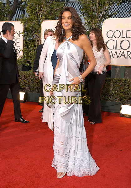 TERI HATCHER.62nd  Annual Golden Globe Awards, .Beverly Hilton Hotel, Beverly Hills, .California, USA, 16th January 2005..full length grey white silver ruffle frills layered donna karen halterneck dress clutch bag purse red carpet.www.capitalpictures.com.sales@capitalpictures.com.Supplied by Capital Pictures