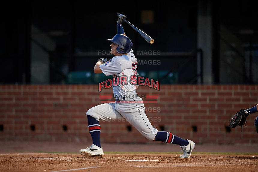 Jacksonville Jumbo Shrimp Corey Bird (32) at bat during a Southern League game against the Mobile BayBears on May 7, 2019 at Hank Aaron Stadium in Mobile, Alabama.  Mobile defeated Jacksonville 2-0.  (Mike Janes/Four Seam Images)