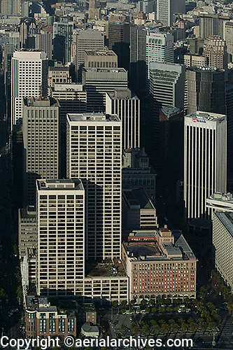 aerial photograph Spear Street towers, One Market Street, One California Street skyscrapers San Francisco