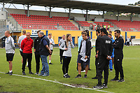 FIFA Officials, the groundstaff and England staff discuss the condition of the pitch during Guatemala Under-23 vs England Under-20, Tournoi Maurice Revello Football at Stade Marcel Cerdan on 11th June 2019