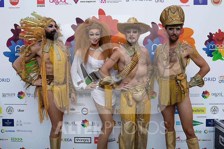 Drag queen group during photocall of the lgtb pride party of Madrid. July 3, 2019. (ALTERPHOTOS/JOHANA HERNANDEZ)