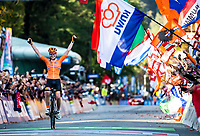 Picture by Alex Broadway/SWpix.com - 29/09/2018 - Cycling - UCI 2018 Road World Championships - Innsbruck-Tirol, Austria - Elite Women's Road Race - Anna van der Breggen of The Netherlands celebrates winning the Women's Race.