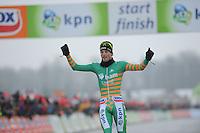 MARATHONSCHAATSEN: ELBURG: Veluwemeer,  25-01-2013, Schaatsseizoen 2012-2013, KPN NK Marathon Natuurijs, winnaar Christijn Groeneveld (A27), ©foto Martin de Jong