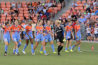 Houston, TX - Saturday July 16, 2016: Caity Heap, Tessa Florio, Bianca Brinson, Megan Crosson, Kate Scheele prior to a regular season National Women's Soccer League (NWSL) match between the Houston Dash and the Portland Thorns FC at BBVA Compass Stadium.