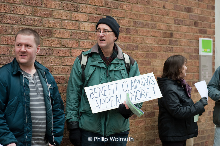 Islington Coalition against Poverty protest outside Highgate Medical Assessment Centre, which is run by Atos Healthcare, a private company which assesses claimants registered for Incapacity Benefit.  The centre is in the same building as Archway Job Centre Plus.