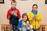 Felie Feabhra: Young musicians Ciaran Linnane, Alannah Moroney & Scarlett Brett pictured at the annual Feile Feabhra organised by the Lixnaw branch of CCE at the Ceolan Centre, Lixnaw on Saturday last .