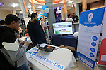 Palestinians take part during technology exhibition funded by Islamic Development Bank in Jeddah, at the Islamic University in Gaza city, on Nov. 20, 2016. Photo by Mohammed Asad
