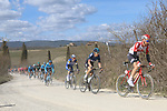 The peloton including Tim Wellens (BEL) Lotto-Soudal and Geraint Thomas (WAL) Team Sky on sector 2 Bagnaia during Strade Bianche 2019 running 184km from Siena to Siena, held over the white gravel roads of Tuscany, Italy. 9th March 2019.<br /> Picture: Seamus Yore | Cyclefile<br /> <br /> <br /> All photos usage must carry mandatory copyright credit (© Cyclefile | Seamus Yore)