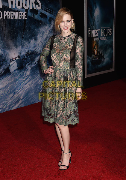 HOLLYWOOD, CA - JANUARY 25: Actress Rachel Brosnahan arrives at the Premiere Of Disney's 'The Finest Hours' at TCL Chinese Theatre on January 25, 2016 in Hollywood, California.<br /> CAP/ROT/TM<br /> &copy;TM/ROT/Capital Pictures