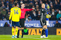 9th November 2019; King Power Stadium, Leicester, Midlands, England; English Premier League Football, Leicester City versus Arsenal; Kasper Schmeichel of Leicester City exchanges words with Pierre-Emerick Aubameyang of Arsenal after a booking for team-mate Jonny Evans - Strictly Editorial Use Only. No use with unauthorized audio, video, data, fixture lists, club/league logos or 'live' services. Online in-match use limited to 120 images, no video emulation. No use in betting, games or single club/league/player publications