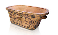 Minoan  pottery bath tub  larnax decorated with stylised octopuses,  Episkopi-Lerapetra 1350-1250 BC, Heraklion Archaeological  Museum, white background.<br /> <br /> To the Greeks, the Underworld was entered by water. As with many other Minoan bathtubs, this one was probably later used as a coffin to convey the deceased across the sea, where marine imagery would be equally appropriate. The two functions of bathtubs, bathing and burial, combine in the story of Agamemnon who, on return from Troy, was murdered by his wife and her lover in a silver bath.