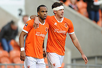 Blackpool's Nathan Delfouneso celebrates scoring his side's second goal with team-mate Ben Heneghan<br /> <br /> Photographer Kevin Barnes/CameraSport<br /> <br /> Emirates FA Cup Second Round - Blackpool v Maidstone United - Sunday 1st December 2019 - Bloomfield Road - Blackpool<br />  <br /> World Copyright © 2019 CameraSport. All rights reserved. 43 Linden Ave. Countesthorpe. Leicester. England. LE8 5PG - Tel: +44 (0) 116 277 4147 - admin@camerasport.com - www.camerasport.com