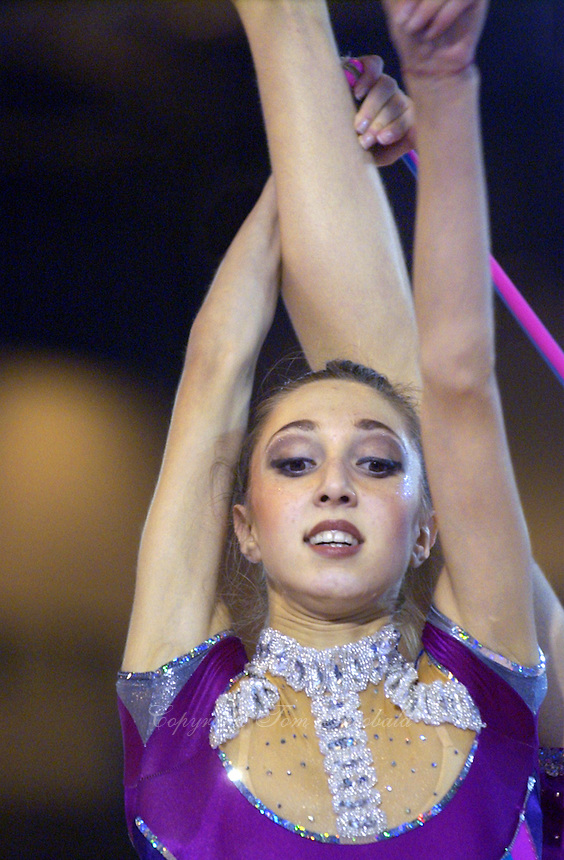 October 19, 2001; Madrid, Spain:  ELIZABETH PAISIEVA of Bulgaria performs with rope at 2001 World Championships at Madrid.