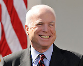 Washington, DC - March 5, 2008 -- United States Senator John McCain (Republican of Arizona), the presumptive 2008 Republican nominee for President of the United States smiles as United States President George W. Bush, not pictured, makes a statement in the Rose Garden of the White House endorsing him on Wednesday, March 5, 2008..Credit: Ron Sachs / CNP