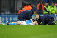Blackburn Rovers' Corry Evans receives treatment<br /> <br /> Photographer Kevin Barnes/CameraSport<br /> <br /> The EFL Sky Bet Championship - Blackburn Rovers v Preston North End - Saturday 11th January 2020 - Ewood Park - Blackburn<br /> <br /> World Copyright © 2020 CameraSport. All rights reserved. 43 Linden Ave. Countesthorpe. Leicester. England. LE8 5PG - Tel: +44 (0) 116 277 4147 - admin@camerasport.com - www.camerasport.com