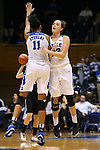 07 January 2016: Duke's Rebecca Greenwell (23) and Azura Stevens (11) celebrate. The Duke University Blue Devils hosted the Wake Forest University Demon Deacons at Cameron Indoor Stadium in Durham, North Carolina in a 2015-16 NCAA Division I Women's Basketball game. Duke won the game 95-68.