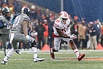 Wisconsin Badgers wide receiver Quintez Cephus (87) carries the ball after a reception during an NCAA College Big Ten Conference football game against the Illinois Fighting Illini Saturday, October 28, 2017, in Champaign, Illinois. The Badgers won 24-10. (Photo by David Stluka)