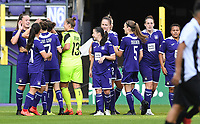 20190807 - ANDERLECHT, BELGIUM : Anderlecht's players pictured celebrating after a goal from Tine De Caigny (left) and the 5-0 lead during the female soccer game between the Belgian RSCA Ladies – Royal Sporting Club Anderlecht Dames  and the Greek FC PAOK Thessaloniki ladies , the first game for both teams in the Uefa Womens Champions League Qualifying round in group 8 , Wednesday 7 th August 2019 at the Lotto Park Stadium in Anderlecht  , Belgium  .  PHOTO SPORTPIX.BE | DAVID CATRY