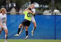 Florida International University women's soccer player Kaitlyn Savage (00) celebrates after the game against the University of Denver on October 16, 2011 at Miami, Florida. FIU won the game 1-0. .