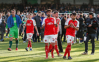 Fleetwood Town's Alex Cairns, Ashley Hunter, Macauley Southam-Hales and Dan Mooney applaud their side's travelling supporters at the end of the match <br /> <br /> Photographer Andrew Kearns/CameraSport<br /> <br /> The EFL Sky Bet League One - Wycombe Wanderers v Fleetwood Town - Saturday 4th May 2019 - Adams Park - Wycombe<br /> <br /> World Copyright © 2019 CameraSport. All rights reserved. 43 Linden Ave. Countesthorpe. Leicester. England. LE8 5PG - Tel: +44 (0) 116 277 4147 - admin@camerasport.com - www.camerasport.com