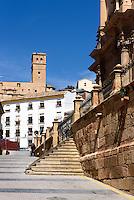 San Patricio rechts und Burg  in Lorca,  Provinz Murcia, Spanien, Europa