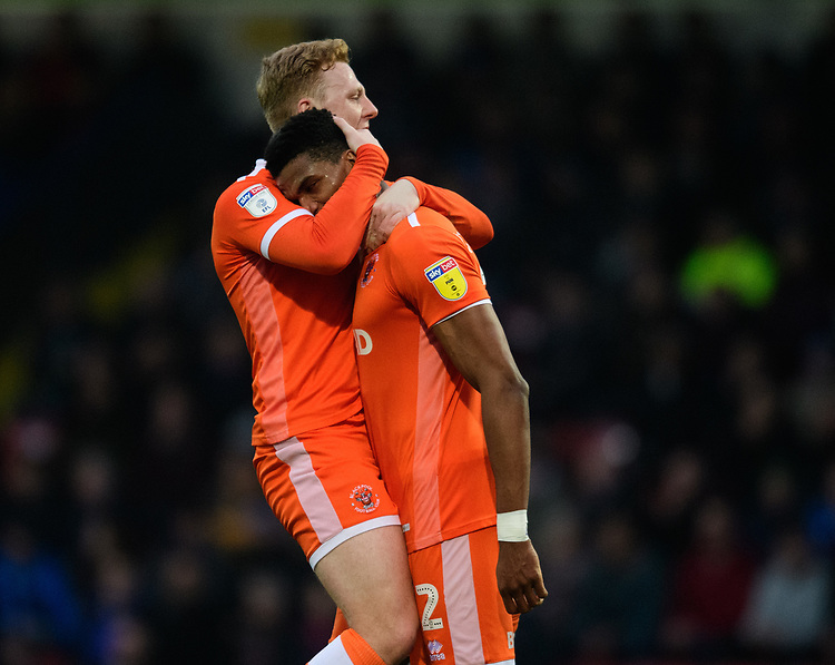 Blackpool's Michael Nottingham, right, celebrates scoring his side's equalising goal to make the score 1-1 with team-mate Callum Guy<br /> <br /> Photographer Chris Vaughan/CameraSport<br /> <br /> The EFL Sky Bet League One - Rochdale v Blackpool - Wednesday 26th December 2018 - Spotland Stadium - Rochdale<br /> <br /> World Copyright © 2018 CameraSport. All rights reserved. 43 Linden Ave. Countesthorpe. Leicester. England. LE8 5PG - Tel: +44 (0) 116 277 4147 - admin@camerasport.com - www.camerasport.com