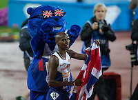 Mo Farah of GBR (Men's 3000m) after his win during the Sainsburys Anniversary Games Athletics Event at the Olympic Park, London, England on 24 July 2015. Photo by Andy Rowland.