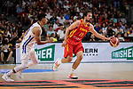 Sergio Llull of Spain during the Friendly match between Spain and Dominican Republic at WiZink Center in Madrid, Spain. August 22, 2019. (ALTERPHOTOS/A. Perez Meca)