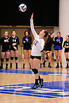 03 DEC 2011:  Kelcie Tolan (12) of Cal State San Bernardino serves against Concordia University St. Paul during the Division II Women's Volleyball Championship held at Coussoulis Arena on the Cal State San Bernardino campus in San Bernardino, Ca. Concordia St. Paul defeated Cal State San Bernardino 3-0 to win the national title. Matt Brown/ NCAA Photos