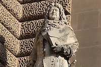 Statue of Francois-Michel le Tellier, Marquis de Louvois, statesman, 1641-91, by Aime Millet, in the Henri IV Wing, in the Cour Napoleon at the Musee du Louvre, Paris, France. A series of 86 statues of famous men were placed in this courtyard 1853-57 under the architects Louis Visconti and Hector Lefuel. Picture by Manuel Cohen