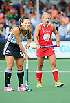 The Hague, Netherlands, June 03: Noel Barrionuevo #27 of Argentina and Kelsey Kolojejchick #7 of USA look on during the field hockey group match (Women - Group B) between Argentina and the United States on June 3, 2014 during the World Cup 2014 at GreenFields Stadium in The Hague, Netherlands. Final score 2:2 (1:1) (Photo by Dirk Markgraf / www.265-images.com) *** Local caption ***