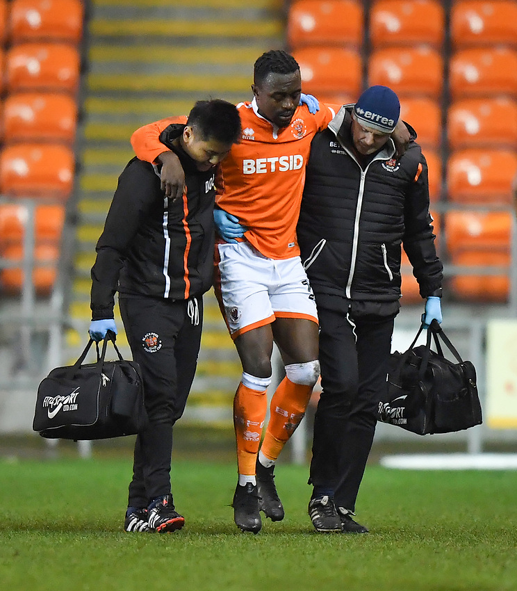 Blackpool's Joe Dodoo is taken off injured<br /> <br /> Photographer Dave Howarth/CameraSport<br /> <br /> The Emirates FA Cup Second Round Replay - Blackpool v Solihull Moors - Tuesday 18th December 2018 - Bloomfield Road - Blackpool<br />  <br /> World Copyright © 2018 CameraSport. All rights reserved. 43 Linden Ave. Countesthorpe. Leicester. England. LE8 5PG - Tel: +44 (0) 116 277 4147 - admin@camerasport.com - www.camerasport.com