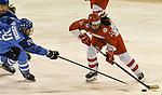 07.01.2020, BLZ Arena, Füssen / Fuessen, GER, IIHF Ice Hockey U18 Women's World Championship DIV I Group A, <br /> Italien (ITA) vs Daenemark (DEN), <br /> im Bild Marta Mazzocchi (ITA, #24), Lea Hansen (DEN, #12)<br /> <br /> Foto © nordphoto / Hafner