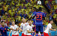 KAZAN - RUSIA, 24-06-2018: Michal PAZDAN (#2) y Jan BEDNAREK (#5) jugadores de Polonia disputan el balón con Yerry MINA y Davinson SANCHEZ (#23) jugador de Colombia durante partido de la primera fase, Grupo H, por la Copa Mundial de la FIFA Rusia 2018 jugado en el estadio Kazan Arena en Kazán, Rusia. /  Michal PAZDAN (#2) and Jan BEDNAREK (#5)  players of Polonia fight the ball with Yerry MINA and Davinson SANCHEZ (#23) player of Colombia during match of the first phase, Group H, for the FIFA World Cup Russia 2018 played at Kazan Arena stadium in Kazan, Russia. Photo: VizzorImage / Julian Medina / Cont