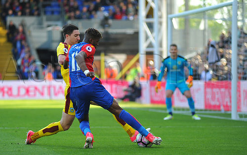 April 29th 2017, Selhurst Park, London England; EPL Premier league football, Crystal Palace versus Burnley; Wilfried Zaha, Midfielder for Crystal Palace sees his cross blocked