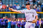 16 September 2017: Colorado Rockies infielder DJ LeMahieu warms up prior to a game against the San Diego Padres at Coors Field in Denver, Colorado. The Rockies shut out the Padres in a 16-0 route of the second game in their 3-game divisional series. Mandatory Credit: Ed Wolfstein Photo *** RAW (NEF) Image File Available ***